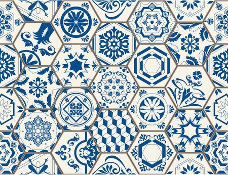 Indigo Blue Flower Azulejos Pattern Lisbon Set Paint Tile Floor Oriental Spain Collection Seamless Pattern Portugal Geometrichexagonal  Ceramic Design Tile Vintage Illustration background Vector Textu