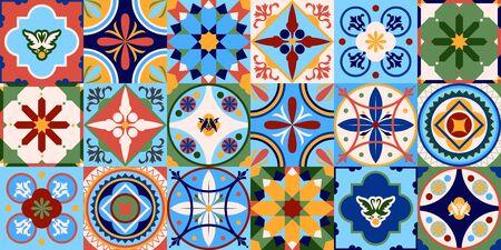 Azulejos portugal. Turkish ornament. Moroccan tile mosaic. Ceramic tableware, folk print. Spanish pottery. Ethnic background. Mediterranean seamless wallpaper.