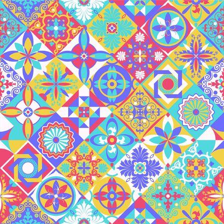 Talavera pattern. Indian patchwork. Azulejos portugal. Turkish ornament. Moroccan tile mosaic. Ceramic tableware, folk print. Spanish pottery. Ethnic background. Mediterranean seamless wallpaper. Vektoros illusztráció