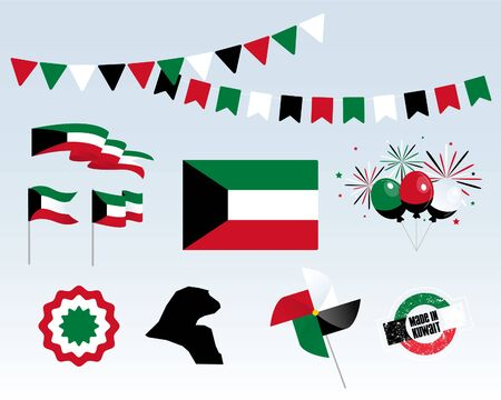 Big set of Kuwait ribbons, symbols, icons and flags isolated on a white background, Made in kuwait, 25 February. Vector symbolism, premium quality, set for your infographics, and templates