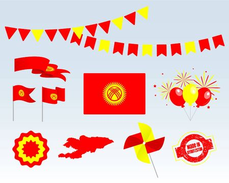 National holiday. Independence Day of Kyrgyzstan set of vector design elements, Made in Kyrgyzstan. Map, flags, ribbons, turntables, sockets. Vector symbolism, set for your infographics. August 31