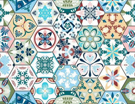 Vector seamless texture. Beautiful mega patchwork pattern for design and fashion with decorative elements in hexagon. Portuguese tiles, Azulejo, Moroccan ornaments Ilustrace