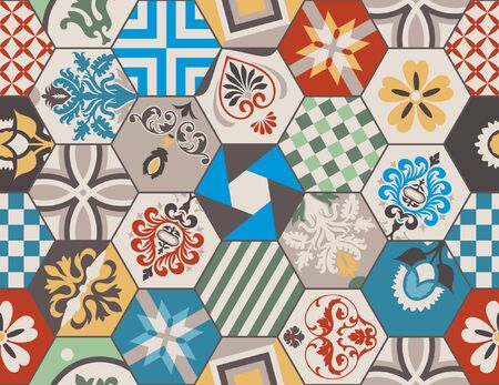 Vintage tiles intricate details for a decorative look. Ceramic paint floor, ornament Collection Patchwork Pattern Colorful  Illustration background Pattern. Spanish pottery. Antique Moroccan, Vector