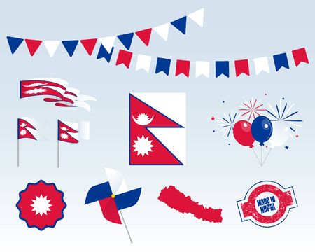 National holiday. Independence Day of Nepal, set of vector design elements, Made in Nepal. Map, flags, ribbons, turntables, sockets. Vector symbolism, premium quality, set for your infographics
