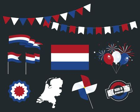 National holiday. Independence Day of Netherlands, set of vector design elements, Made in Netherlands. Map, flags, ribbons, turntables, sockets. Vector symbolism, premium quality, set for your infogra