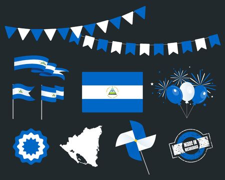 National holiday. Independence Day of Nicaragua, set of vector design elements, Made in Nicaragua. Map, flags, ribbons, turntables, sockets. Vector symbolism, set for your infographics. 15 of Septembe