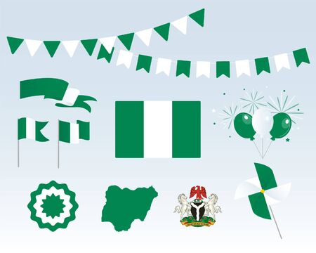National holiday. Independence Day of Nigeria, set of vector design elements. Map, coat of arms, flags, ribbons, turntables, sockets. Vector. Symbolism Vectores