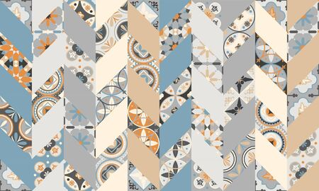 Mega Gorgeous seamless patchwork pattern from colorful Moroccan, Portuguese tiles herringbone pattern, ornaments .. Can be used for wallpaper, pattern fills, web page background, surface texture