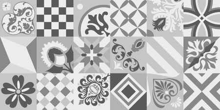 Lisbon tiles design, Azulejo vector seamless pattern, abstract and floral decoration inspired by tranditional tile art from Portugal and Spain. Dark and light gray old mosaic, retro tiles background, Vektorgrafik