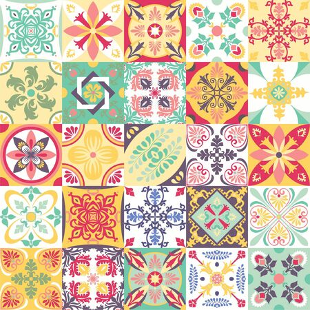 Mega set of ceramic tiles with oriental print. Colorful vintage flooring with Moroccan, Spanish, Portuguese patterns floral and geometric patterns. Gradation of red, blue, green, yellow and beige shad Vetores