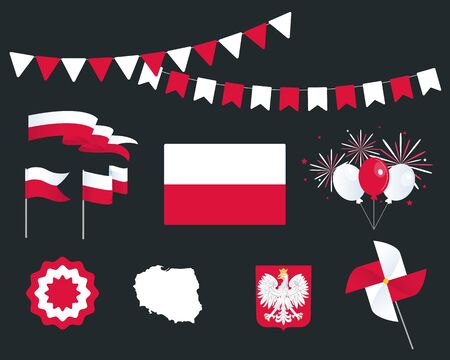 National holiday. Independence Day of Poland, set of vector design elements. Map, coat of arms, flags, ribbons, turntables, sockets. Vector. 11th of November. Symbolism