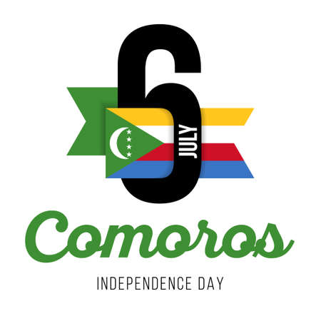 Congratulatory design for July 6, Comoros Independence Day and text with the colors of the flag of the Comoros. Vector illustration Çizim