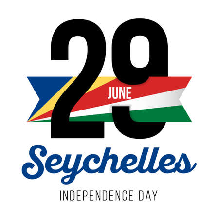 Congratulatory design for June 29, to the Seychelles Independence Day and text with the colors of the Seychelles flag. Vector illustration
