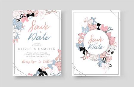 Wedding invitation template with beautiful, delicate pink bows and ribbons. Vectors Illustration
