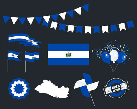 National holiday. Independence Day Salvador set of vector design elements, Made in Salvador. Map, flags, ribbons, turntables, sockets. Vector symbolism, set for your info graphics. September 15th Stock Illustratie