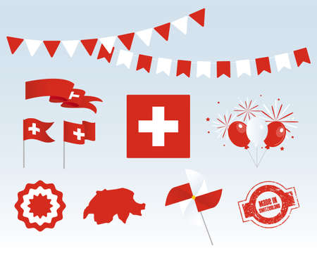 National holiday. Independence Day of Switzerland, set of vector design elements, Made in Switzerland. Map, flags, ribbons, turntables, sockets. Vector symbolism, set for your infographics. August 1 Stock Illustratie