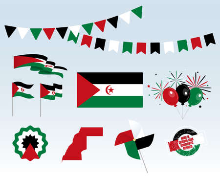 National holiday. Sugar Arab Democratic Republic Independence Day, set of vector design elements. Made in Western Sahara. Map, flags, ribbons, turntables, sockets. Vector. July 9th. Symbolism