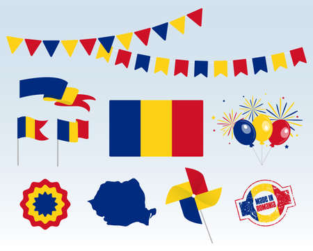 National holiday. Independence Day of Romania, set of vector design elements, Made in Romania. Map, flags, ribbons, turntables, sockets. Vector symbolism, set for your infographics. December 1st Vettoriali