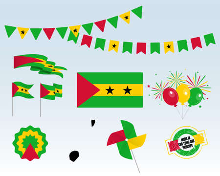 National holiday. Sao Tome and Principe Independence Day, set of vector design elements. Made in Sao Tome and Principe. Map, flags, ribbons, turntables, sockets. Vector. Symbolism