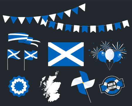 National holiday. Independence Day of Scotland set of vector design elements, Made in Scotland. Map, flags, ribbons, turntables, sockets. Vector symbolism, set for your infographics. June 24