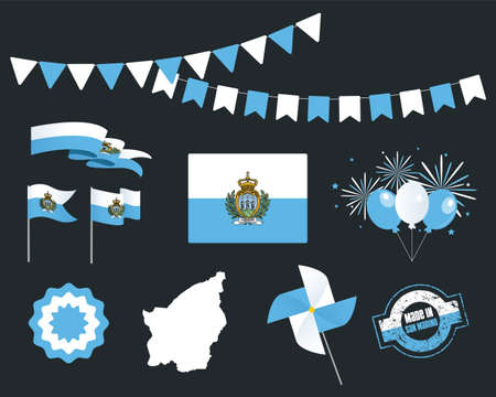 National holiday. Independence Day San Marino set of vector design elements, Made in San Marino. Map, flags, ribbons, turntables, sockets. Vector symbolism, set for your info graphics. September 3rd