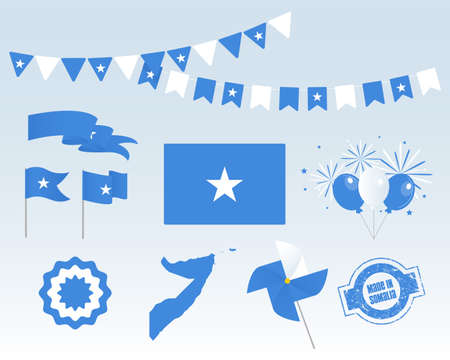 National holiday. Independence Day of Somalia, set of vector design elements, Made in Somalia. Map, flags, ribbons, turntables, sockets. Vector symbolism, set for your infographics. July 1 Stock Illustratie