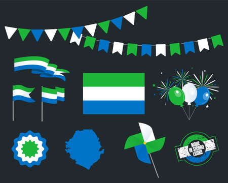 National holiday. Independence Day Sierra Leone set of vector design elements, Made in Sierra Leone. Map, flags, ribbons, turntables, sockets. Vector symbolism, set for your info graphics. April 27th Stock Illustratie