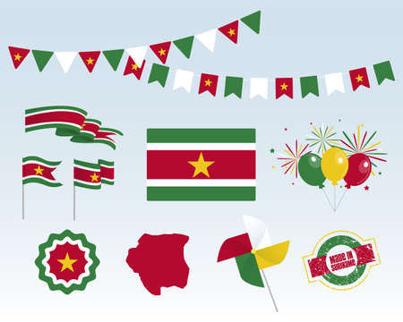 National holiday. Independence Day of Suriname, set of vector design elements, Made in Suriname. Map, flags, ribbons, turntables, sockets. Vector symbolism, set for your infographics. November 25 Stock Illustratie