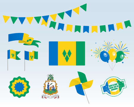 National holiday. Independence Day Saint Vincent and the Grenadines set of vector design elements, Made in Saint Vincent and the Grenadines. Map, flags, ribbons, turntables, sockets. Vector symbolism
