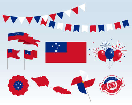 National holiday. Independence Day Samoa set of vector design elements, Made in Samoa. Map, flags, ribbons, turntables, sockets. Vector symbolism, set for your info graphics. June 1st Ilustrace