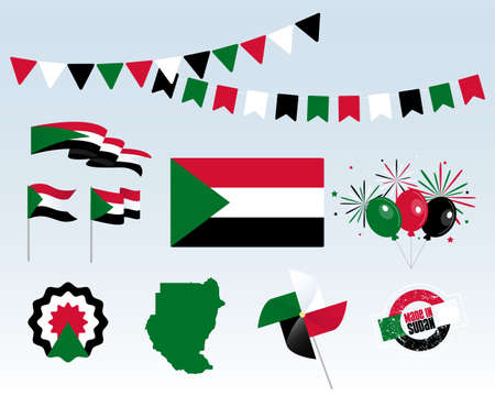 National holiday. Independence Day of Sudan, set of vector design elements, Made in Sudan. Map, flags, ribbons, turntables, sockets. Vector symbolism, set for your infographics. December 1st Stock Illustratie