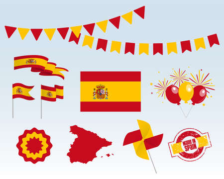 National holiday. Independence Day of Spain set of vector design elements, Made in Spain. Map, flags, ribbons, turntables, sockets. Vector symbolism, set for your infographics. October 12th Stock Illustratie
