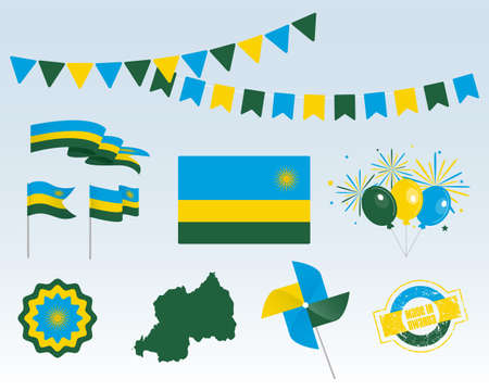 National holiday. Independence Day Rwanda set of vector design elements, Made in Rwanda. Map, flags, ribbons, turntables, sockets. Vector symbolism, set for your info graphics. July 1