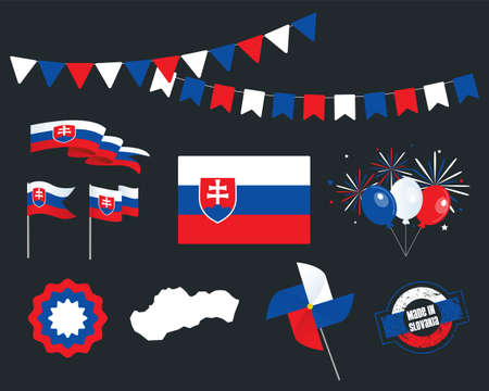 National holiday. Independence Day of Slovakia, set of vector design elements, Made in Slovakia. Map, flags, ribbons, turntables, sockets. Vector symbolism, set for your infographics. 1st of January