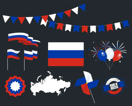 National holiday. Independence Day of Russia, set of vector design elements, Made in Russia. Map, flags, ribbons, turntables, sockets. Vector symbolism, set for your infographics. 12 June Stock Illustratie