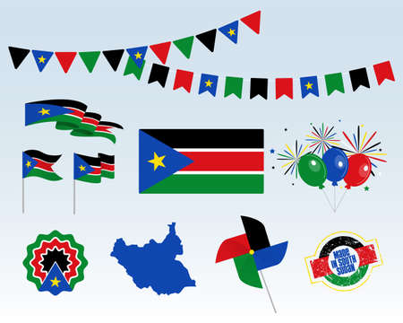 National holiday. South Sudan Independence Day, set of vector design elements. Made in South Sudan. Map, flags, ribbons, turntables, sockets. Vector. July 9th. Symbolism