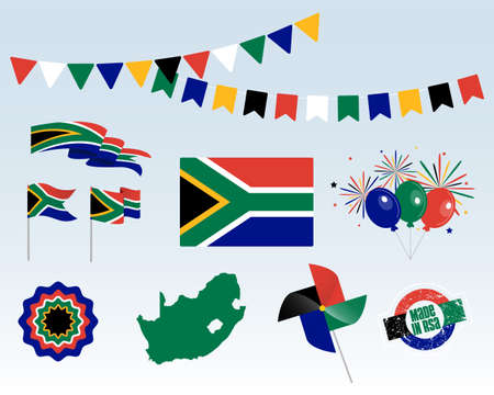 National holiday. South Africa Independence Day set of vector design elements, Made in South Africa. Map, flags, ribbons, turntables, sockets. Vector symbolism, set for your info graphic. April 27th 写真素材 - 150730069