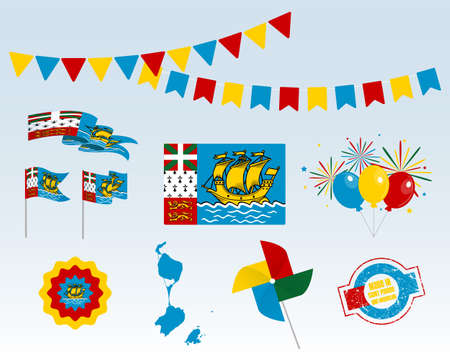 National holiday. Independence Day Saint Pierre and Miquelon set of vector design elements, Made in Saint Pierre and Miquelon. Map, flags, ribbons, turntables, sockets. Vector symbolism Stock Illustratie