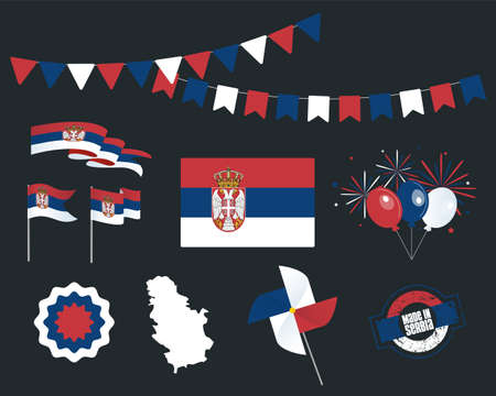 National holiday. Independence Day of Serbia, set of vector design elements, Made in Serbia. Map, flags, ribbons, turntables, sockets. Vector symbolism, set for your infographics. February, 15