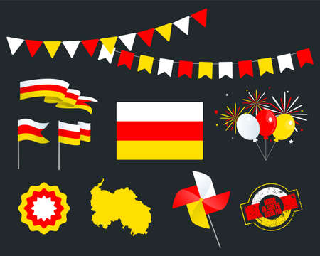 National holiday. South Ossetia Independence Day, set of vector design elements. Made in South Ossetia. Map, flags, ribbons, turntables, sockets. Vector. August, 26th. Symbolism  イラスト・ベクター素材