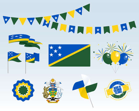 National holiday. Solomon Islands Independence Day set of vector design elements Made in Solomon Islands. Map, flags, ribbons, turntables, sockets. Vector symbolism, set for your info graphic July 7th Stock Illustratie