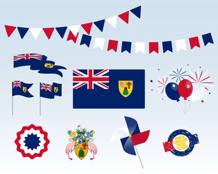 National holiday. Independence Day Pitcairn Islands set of vector design elements, Made in Pitcairn Islands. Map, flags, ribbons, turntables, sockets. Vector symbolism, set for your info graphics