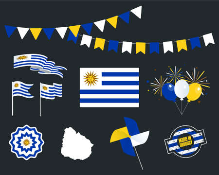 National holiday. Uruguay Independence Day set of vector design elements, Made in Uruguay. Map, flags, ribbons, turntables, sockets. Vector symbolism, set for your info graphic. 25-th of August Stock Illustratie