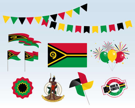 National holiday. Independence Day of Vanuatu set of vector design elements, Made in Vanuatu. Map, flags, ribbons, turntables, sockets. Vector symbolism, set for your infographics. July 30th