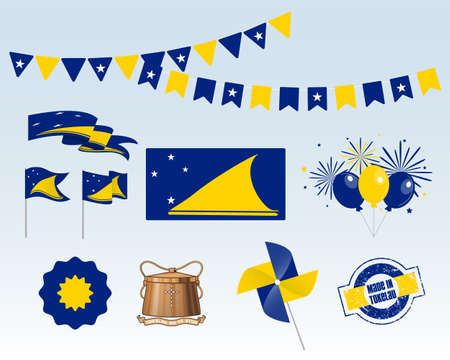 National holiday. Tokelau Independence Day set of vector design elements, Made in Tokelau. Map, flags, ribbons, turntables, sockets. Vector symbolism, set for your info graphic.