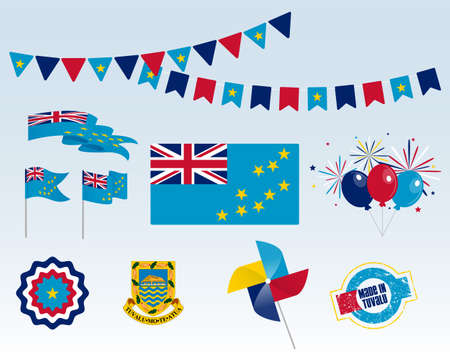 National holiday. Independence Day Tuvalu set of vector design elements, Made in Tuvalu. Map, flags, ribbons, turntables, sockets. Vector symbolism, set for your info graphics. October 1st