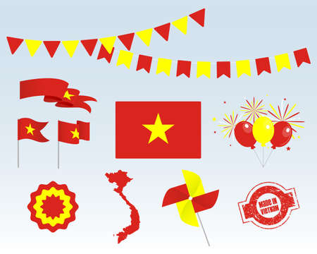 National holiday. Independence Day of Vietnam set of vector design elements, Made in Vietnam. Map, flags, ribbons, turntables, sockets. Vector symbolism, set for your infographics. September 2 Stock Illustratie