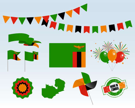 National holiday. Zambia Independence Day Set of Vector Design Elements Made in Zambia. Map, flags, ribbons, turntables, sockets. Vector symbolism, set for your info graphic. October 24th