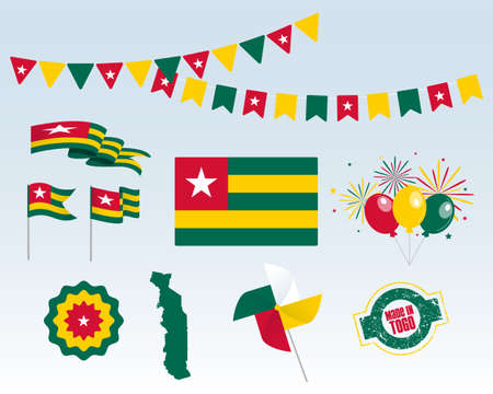 National holiday. Independence Day Togo set of vector design elements, Made in Togo. Map, flags, ribbons, turntables, sockets. Vector symbolism, set for your info graphics. Stock Illustratie