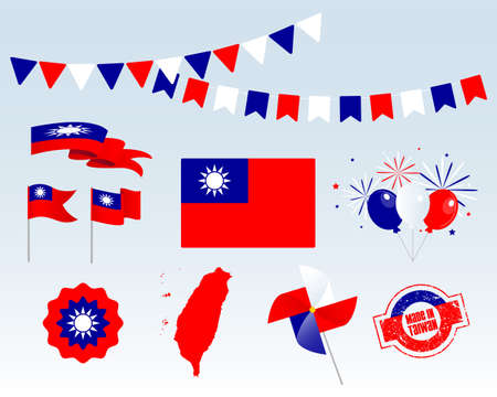 National holiday. Independence Day Taiwan set of vector design elements, Made in Taiwan. Map, flags, ribbons, turntables, sockets. Vector symbolism, set for your info graphics. October 10th